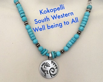 Kokopelli Southwest Pewter Pendant Necklace