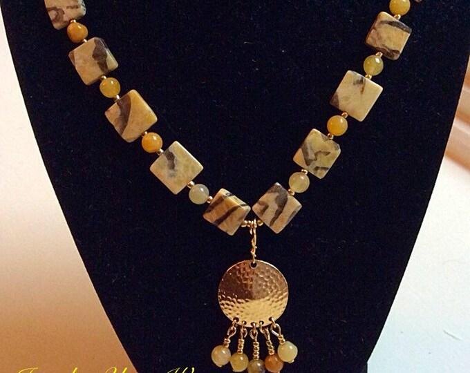Tiger Stone Necklace, Honey Jade Jewelry,  Sophisticated Pendant Necklace, Tassel Necklace, Under Twenty Five Dollars Necklace