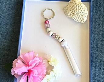 Cancer Keychain, Pink Keychain, White Tassels
