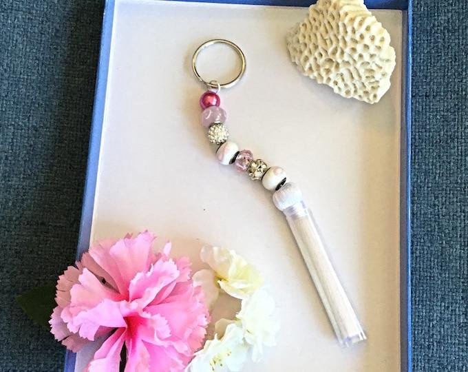 Cancer Keychain, Pink Keychain, White Tassels Perfect Ladies Survivor Gift