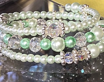 "Mint Glass Beads Glass Crystals Bracelet. Spring is in the air and ""Pastels"" are the color to wear in Jewelry."