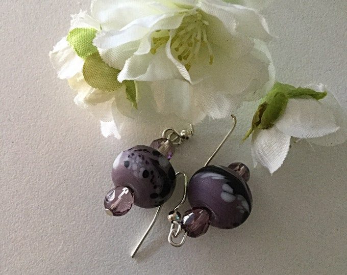 Purple Lamp-work Earrings.  Purple Glass Earrings