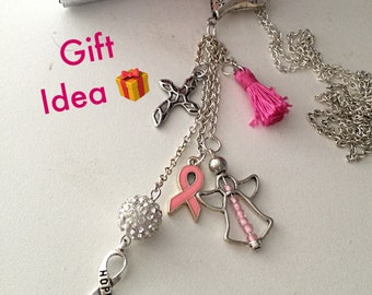 Breast Cancer Statement Necklace, Charms Necklace