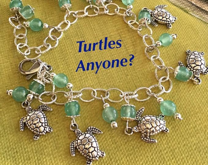 Sea Turtles Charm Bracelet, Green Aventurine semi precious beads, On of a Kind