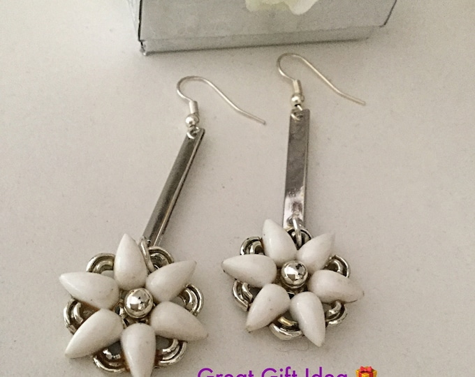 White Flower Earrings. Drop Dangle. Made Only One for You. Repurposed Vintage 1950 Clip on Earrings
