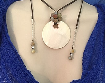 Mother of Pearl, Soft Leather Necklace, OOAK
