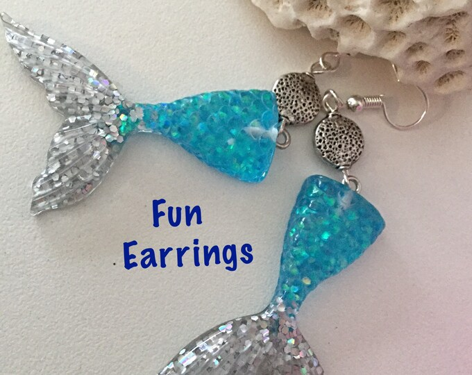 Mermaid Tail Earrings, Resin Sparkly Mermaid Tails, Blue Silver Tails, Fun Beach Jewelry