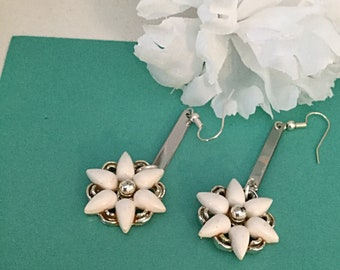 White Flower Earrings. Drop Dangle(Repurposed)