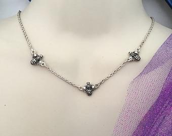 Vintage Silver Honey Bee Necklace.