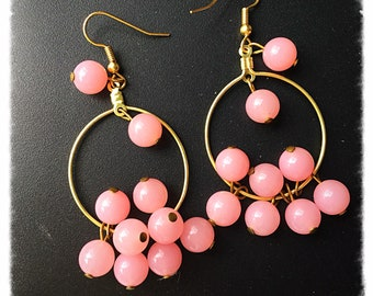 Pink Bead Earrings, Cure Cancer Earrings, Ladies Gift