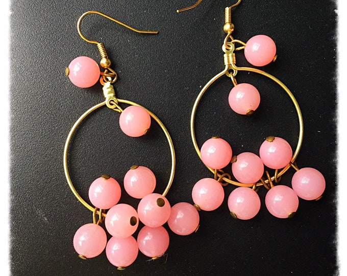 Pink Bead Earrings, Cure Cancer Earrings, Ladies Gift