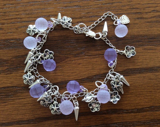 Silver Spikes Bracelet,  Starfish Bracelet, Sand Dollars Bracelet, Purple Charms Bracelet, Handmade USA, Ladies Gift,  Girls Fun Bracelet