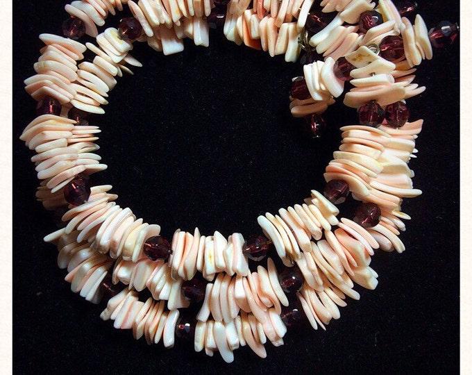 Sea Shells Bracelet, Pink Shells Purple Glass Beads Bracelet, Dainty Beach Bracelet, Seaside Bracelet, One size fits all, Made USA