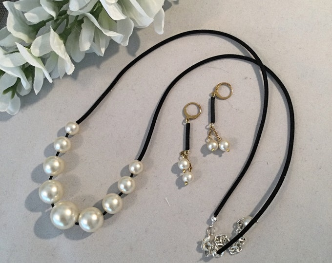 Large Pearl Necklace, Velvet, Matching Earrings