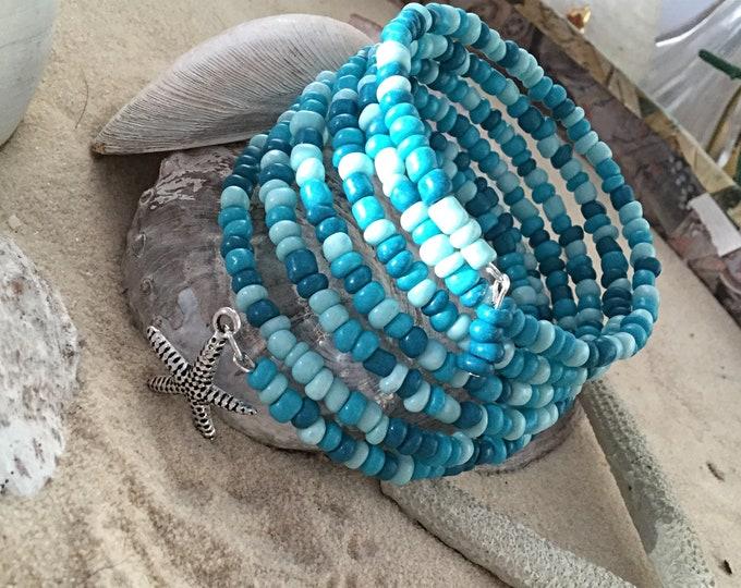 Ocean Colors Bracelet.  Blue Memory Wire Bracelet