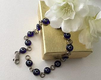 Vintage, Blue Evil Eye Bracelet, Silver