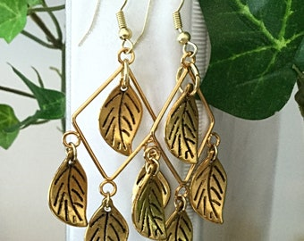 Leaf Earrings, Chandelier Earrings