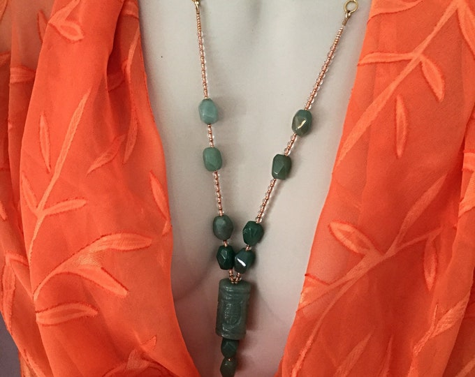 Jade Green Pendant Necklace, Copper Beads, Jade Stones Necklace, Adjustable Affordable Chic Ladies Necklace, Sophisticated Women's Gift