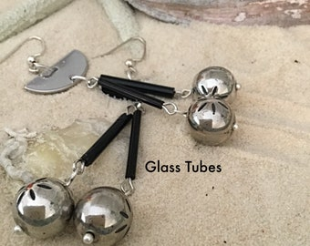 Unique Drop and Dangle Earrings. GlassTube with Dangling Balls Earrings, Affordable One of a Kind. Buy Now