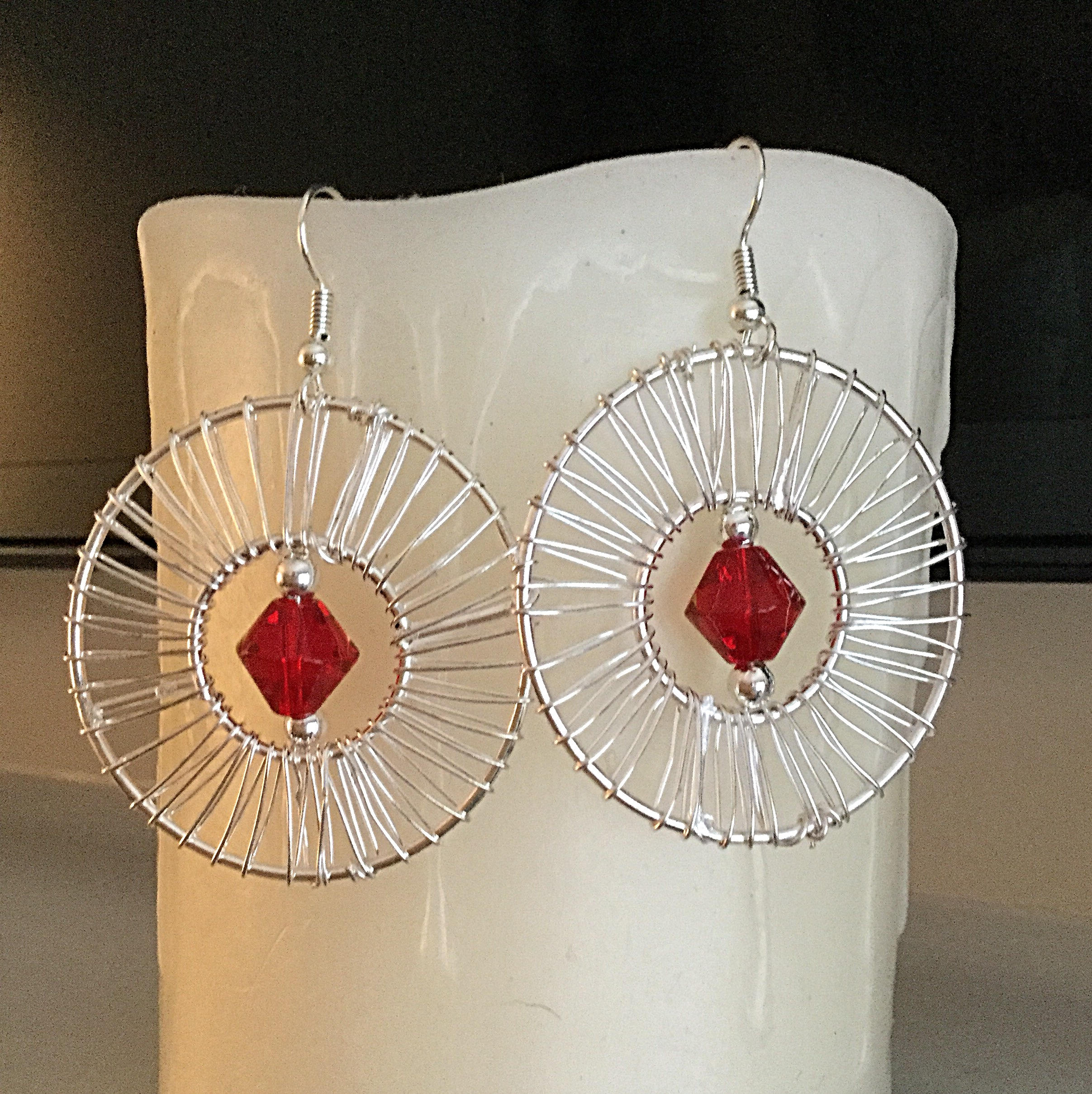 Wire Wrapped Earrings, Red Valentines Earrings, Handmade USA, One of ...