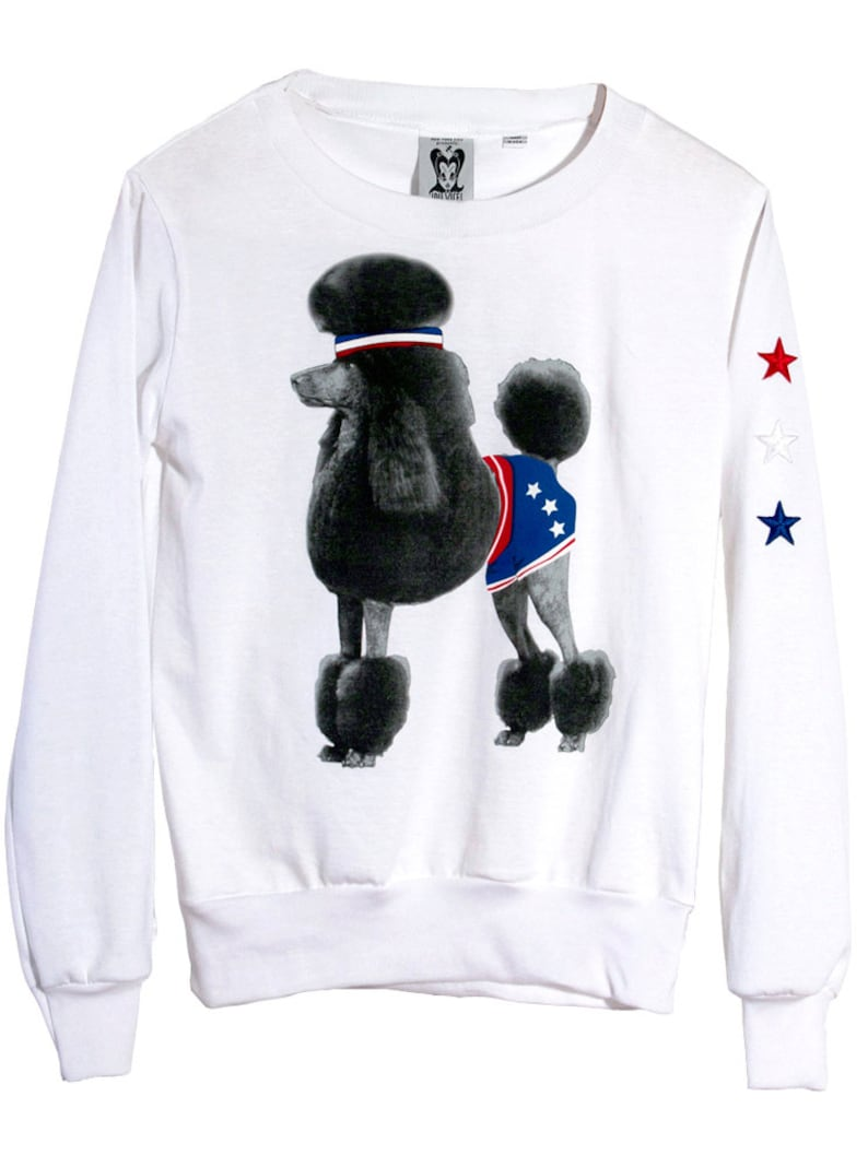Athletic Retro Poodle Dog Photo Printed Long Sleeve T-Shirt Jumper Top