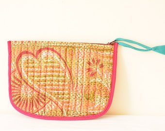 Hand Stitched 100% Silk Patchwork Make Up Pouch with Zipper, Make up Pouch, Wallet, Coin Purse, Wristlet, Travel Pouch