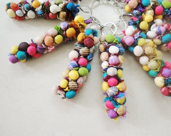 Set of 3, 4 or 10 Keychains, Handmade with Multi Color Pom Poms / Bag Charm /  Gifts and Favors