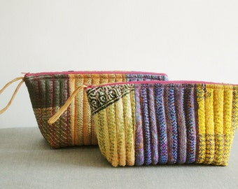 Set Of 2 , Kantha Cosmetic Pouch , Vintage Kantha Cosmetic Bag, Coin Purse , Brides Maids Gift, Wedding Favor
