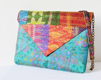 Turquoise Handmade Vintage Kantha Silk Clutch, Bridesmaids Clutch, Envelope Clutch with Sling , Over Sized Vintage Kantha Purse with Chain