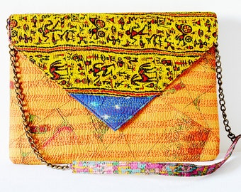 Yellow Handmade Vintage Kantha Silk Clutch, Bridesmaids Clutch, Envelope Clutch with Sling , Over Sized Vintage Kantha Purse with Chain