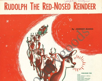 Vintage Sheet Music Cover Art: Rudolph The Red-Nosed Reindeer