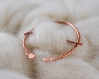 Large Copper Penannular Brooch - Pin for Hand Knit and Crocheted Accessories - Shawl Pin - Luxury Knitting Notions