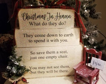 image relating to Christmas in Heaven Poem Printable titled Vacant chair poem Etsy