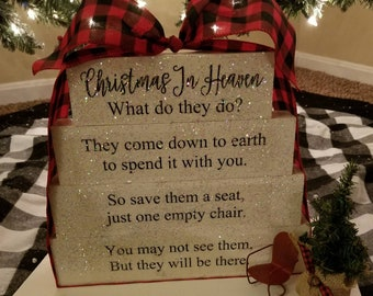 photo relating to Christmas in Heaven Poem Printable called Xmas In just Heaven poem picket block fixed with Custom made