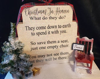 Christmas in Heaven What Do They Do Poem memorial table top block set wood sign.  Lights sold separately. Can be customized