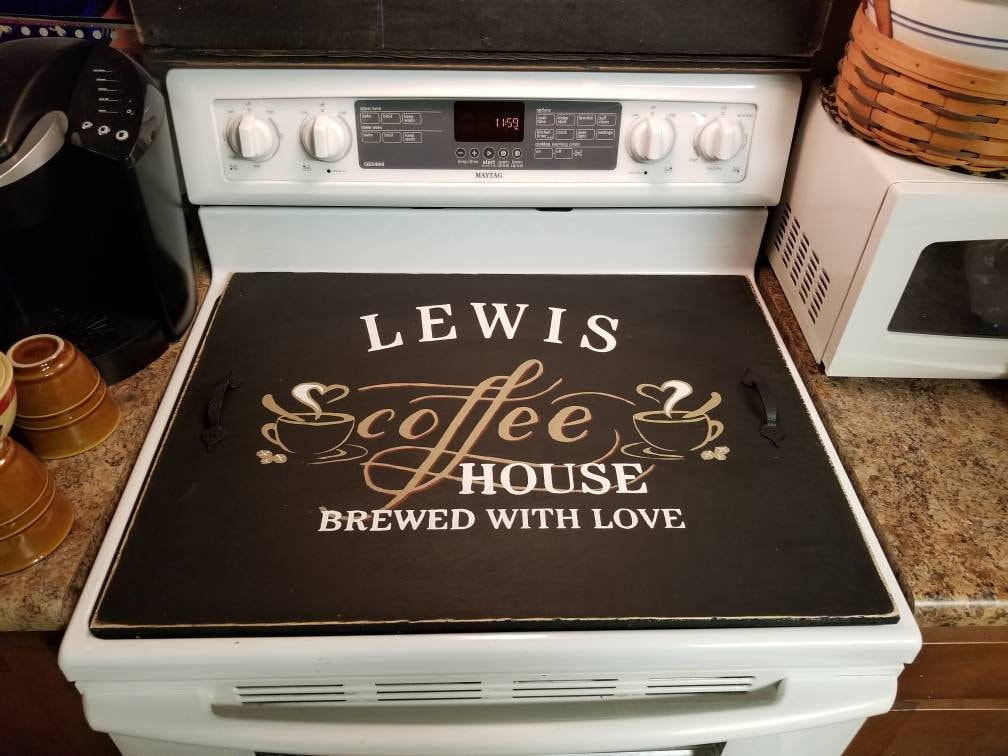 Custom Coffee House Brewed With Love Primitive Stove Top Cover