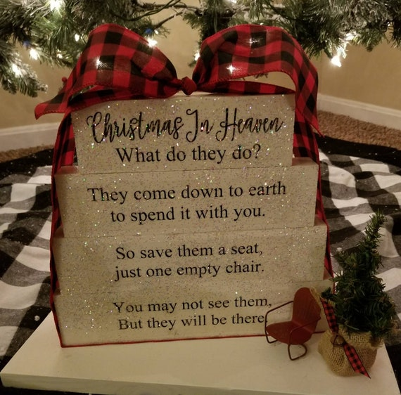 Christmas In Heaven What Do They Do.Christmas In Heaven What Do They Do Poem Memorial Table Top Block Set Wood Sign