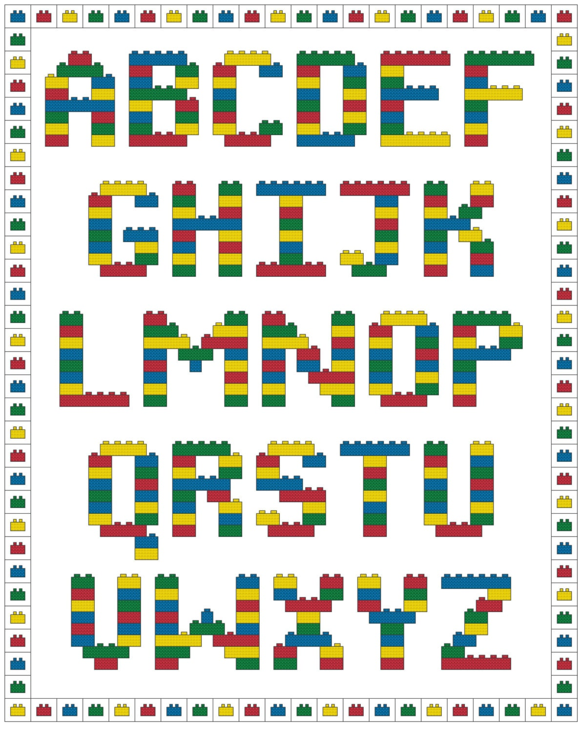 cross stitch letters brick alphabet cross stitch pattern 47230