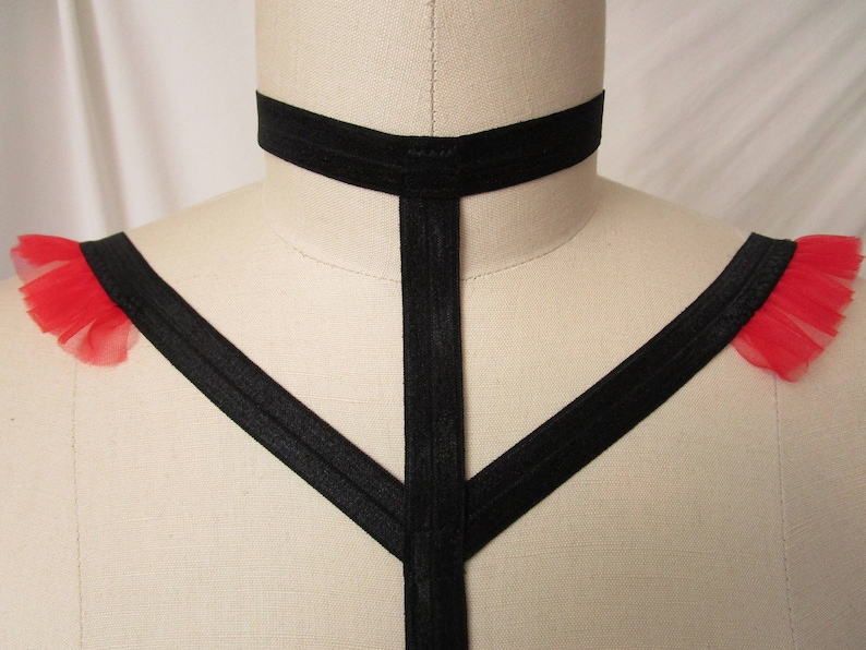 Red Ruffle Black Cage Bra with Choker Ribbon Collar Body Harness Goth Pinup Lingerie