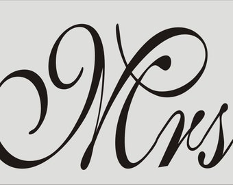 Mr And Mrs Reusable Stencil 155 Wide X 8 Tall 175