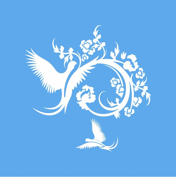 Two Doves Flourish -Reusable STENCIL- Available in 7 sizes- Create  beautiful Pillows Home and Wedding Decor!
