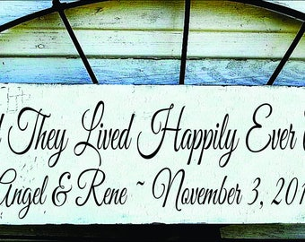 And They Lived Happily Ever After -Custom Stencil- **Reusable STENCIL**-  5 Sizes Available- Create wedding signs yourself.