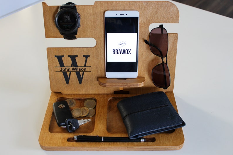 Gifts For Dad Gifts For Him Personalized Gift Groomsmen Gift Boyfriend Gifts Gift For Husband Mens Valet Docking Station Apple Watch