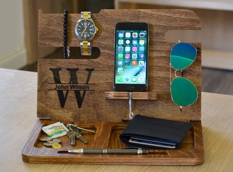 62d369de89f4 Wooden Docking Station Anniversary Gifts for Men Gifts for