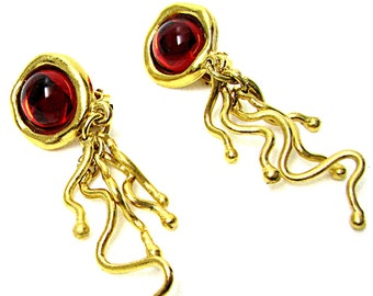 BICHE DE BERRE earrings, gold tone and red vintage cabochons