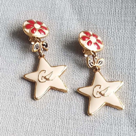 CHRISTIAN LACROIX earrings, vintage enamelled