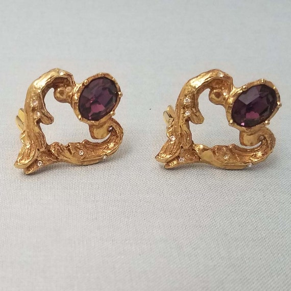 CHRISTIAN LACROIX earrings, vintage structured hea