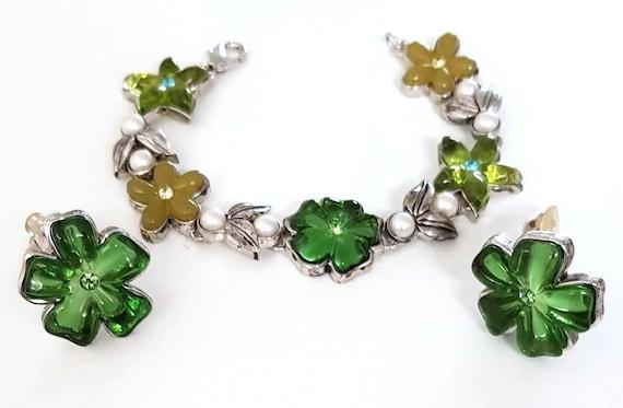 NINA RICCI-GRIPOIX, gripoix glass clip bracelet an