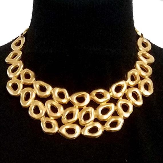 EDOUARD RAMBAUD, vintage gold metal necklace