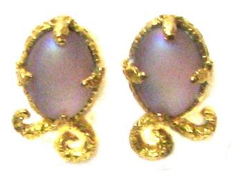 HANAE MORY Japanese designer Hanae Mory signed Guilloche clip earrings gold metal earrings